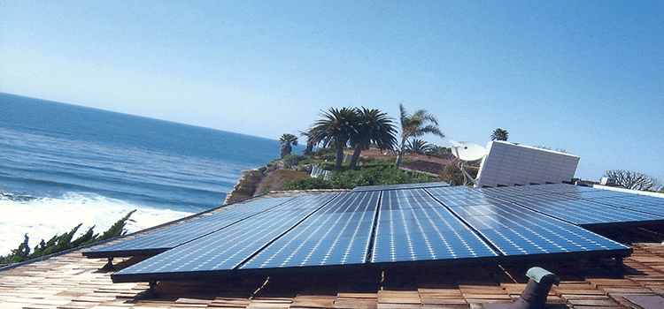 Electric Solar Panel on roof with ocean view
